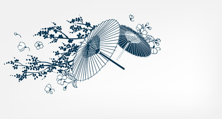 japanese traditional vector illustration umbrella sakura card background