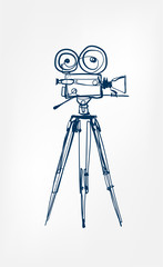 camera vector sketch illustration film line isolated