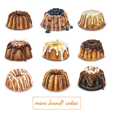 Mini bundt cake illustration