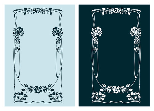 art nouveau rose vector frame vector pair line isolated