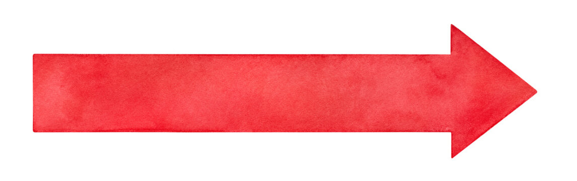 Long bright red arrow watercolour sketchy drawing. Colorful background to place any text, note, message, headline, address. Handdrawn on white backdrop, cutout clip art element for creative design.