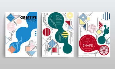 stock vector covers templates set with graphic geometric elements applicable for brochures posters covers