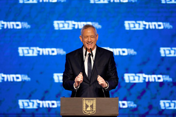 Benny Gantz, head of Blue and White party, delivers a speech following the announcement of exit polls in Israel's parliamentary election at his party headquarters in Tel Aviv, Israel