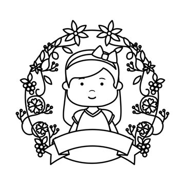 little girl with wreath flowers first communion