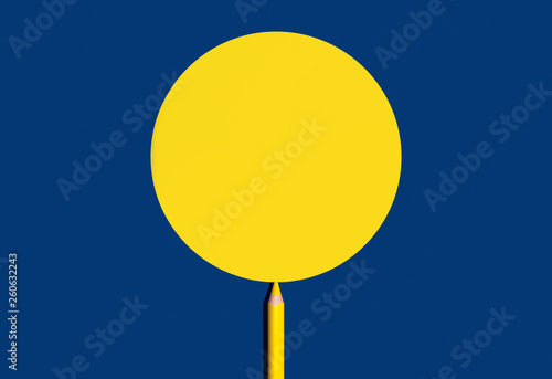 Yellow pencil draw yellow circle shape for copy space on a