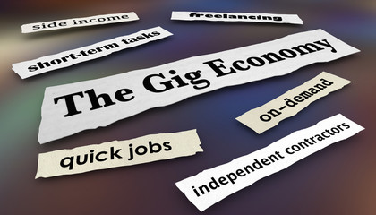 The Gig Economy Quick Jobs Independent Workers News Headlines 3d Illustration Fotoväggar