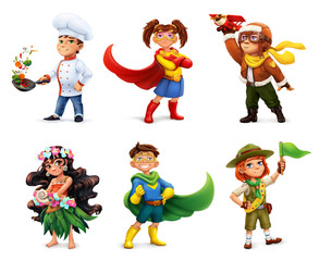 Little children in costumes. Superheroes, cook, pilot, scout. Comic character, 3d vector icon set
