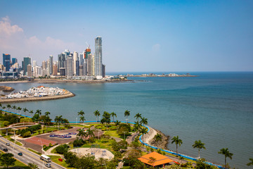Aerial View to skyline from panama City along the Cinta Costera