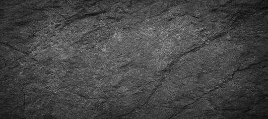 Panorama dark grey black slate background or texture.Panorama black slate background