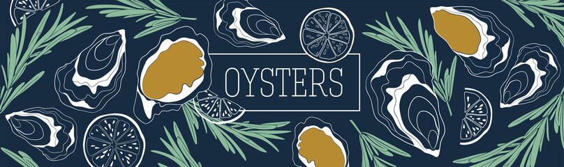Oysters banner vector template. Shellfish and seafood restaurant or fishery product market banners template. Hand drawn illustration on deep blue background