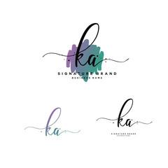 Obraz K A KA Initial letter handwriting and  signature logo. - fototapety do salonu