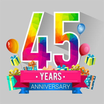45 Years Anniversary Celebration Design, with gift box and balloons, red ribbon, Colorful polygonal logotype, Vector template elements for your birthday party.