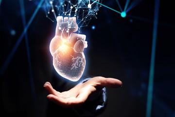 Woman s hand showing digital anatomical heart model. Mixed media.