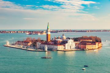 Fotomurales - Aerial view at San Giorgio Maggiore island, Venice, Italy