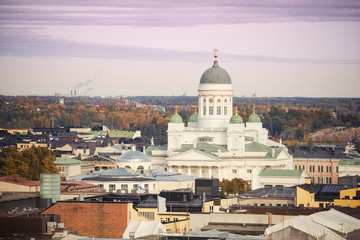 Fotomurales - Aerial view on Cathedral in the Old Town of Helsinki, Finland