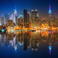 Wall Mural - View on Manhattan at night, New York, USA