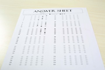Picture of exam sheet. Isolated on white background.