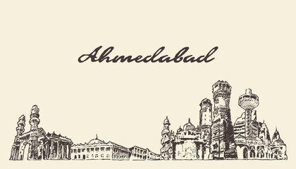 Wall Mural - Ahmedabad skyline India vector hand drawn sketch