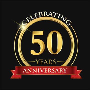 Celebrating 50 years anniversary logo. with golden ring and red ribbon.