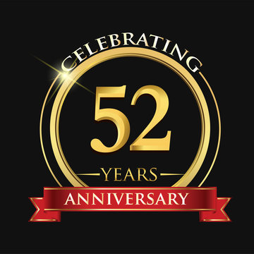 Celebrating 52 years anniversary logo. with golden ring and red ribbon.
