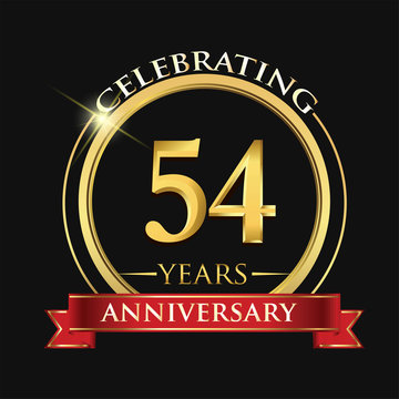 Celebrating 54 years anniversary logo. with golden ring and red ribbon.