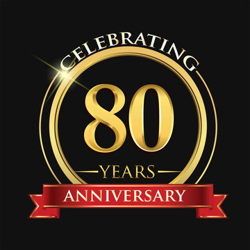 Celebrating 80 years anniversary logo. with golden ring and red ribbon.