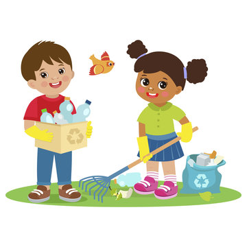 Children Collect Rubbish For Recycling Vector Illistration. Eco Education Vector. Boy And Girl Gathering Garbage And Plastic Waste For Recycling. Kids Help Save The World.