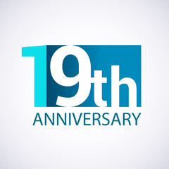 Template Logo 19 anniversary blue colored vector design for birthday celebration.