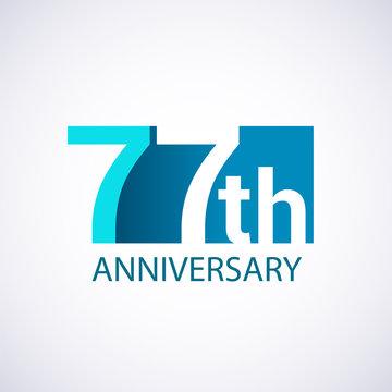 Template Logo 77 anniversary blue colored vector design for birthday celebration.