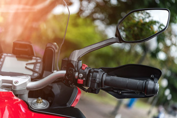 Motorcycle handlebar with button control  and mirror Fototapete