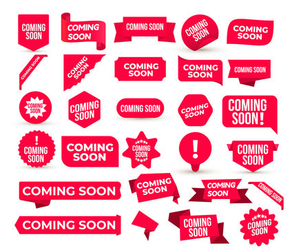 Set of Coming Soon promo banners, stickers and tag labels. Red shop or store banners and ribbon signs. Vector illustration. Isolated on white background.