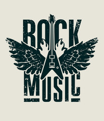 Vector banner with words Rock music, with electric guitar and wings on fire. Can be used for flyers, posters, t-shirt design, tattoo