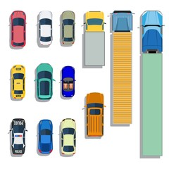 Cars and trucks top view flat icons. Set of car and sedan car. Vector illustration in flat style