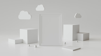 Blank picture frame with cylinder podium. Abstract geometric background for display or mockup. 3D rendering. Wall mural