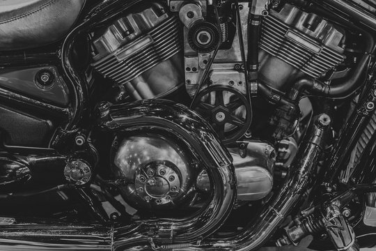chopper engine black and white motorcycle v-twin block.