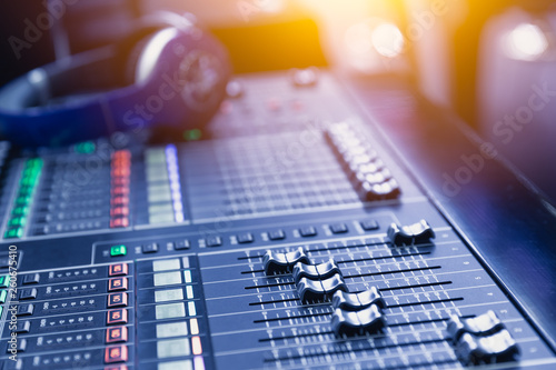 Music mixer sound recording engineer control desk for dj at stage