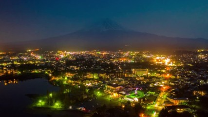Wall Mural - Hyperlapse of Aerial view kawaguchiko and Fuji mountains, Japan.
