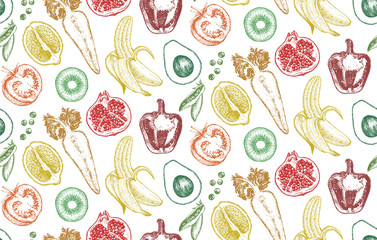 Seamless Pattern. Hand-drawn illustration of vegetables and fruits, vector