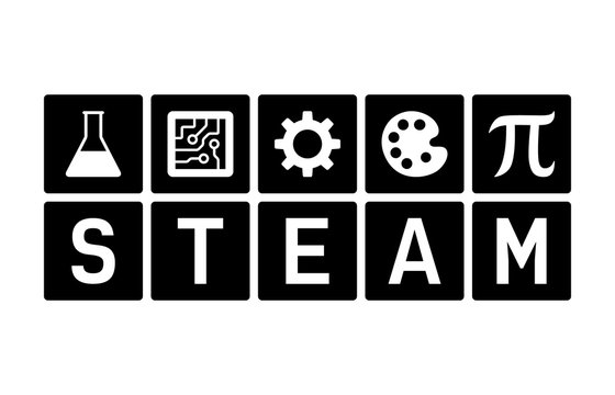 STEAM - science, technology, engineering, art and mathematics flat vector icon for education apps and websites