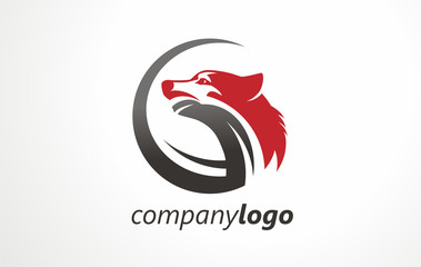 Company logo wolf. Sign vector symbol mark. Logotype print element  power. Design style retro abstract. Wildlife wolf cartoon mascot illustration.