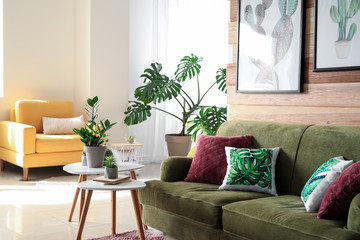 Soft couch with green plants in interior of living room