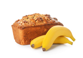 Tasty banana bread on white background