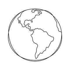 Earth continuous line vector illustration