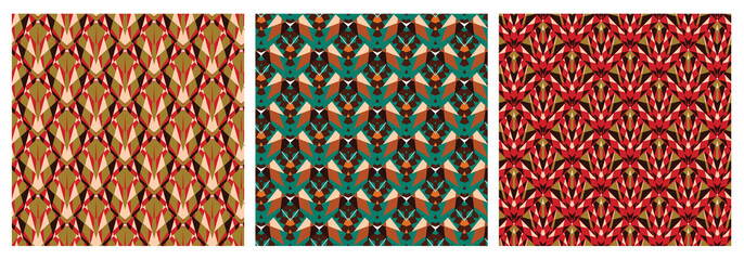 Set of geometric seamless pattern in african style