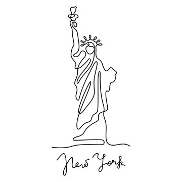 New York, Statue of Liberty continuous line vector illustration