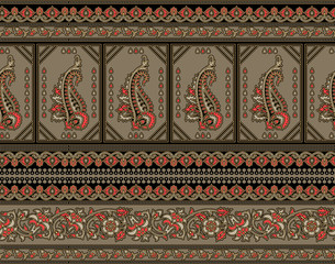 Seamless traditional indian textile paisley border