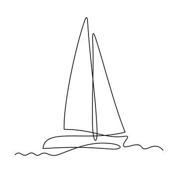 Yacht continuous line vector illustration