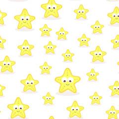 seamless pattern with cartoon starfish