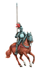 Armoured knight illustration. Mounted knight isolated acrylic picture.