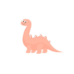 Funny colorful cute dinosaur  vector flat character isolated on white